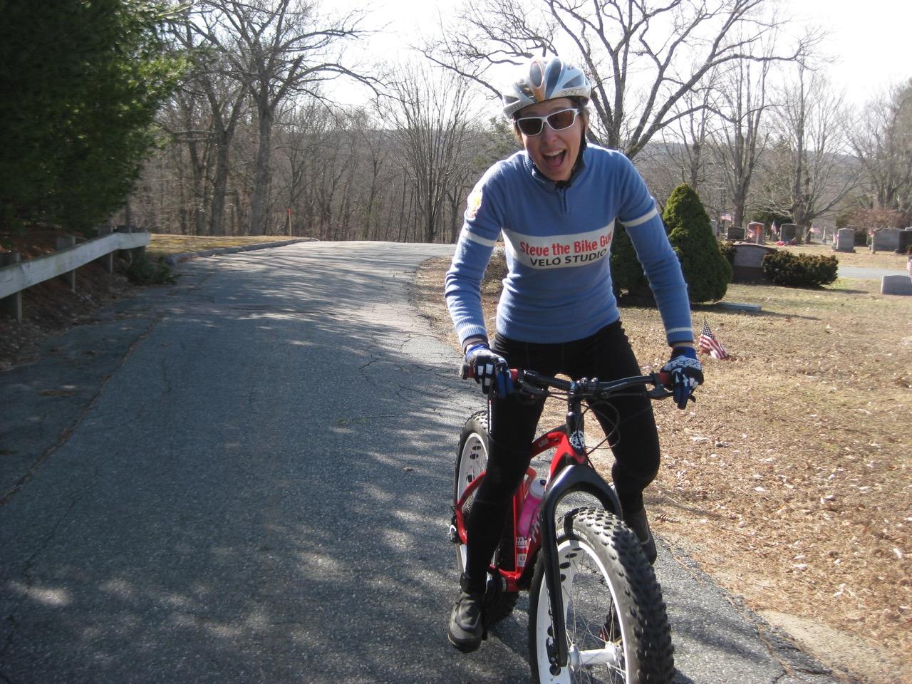 Pushing my bike like Wilma Flinstone