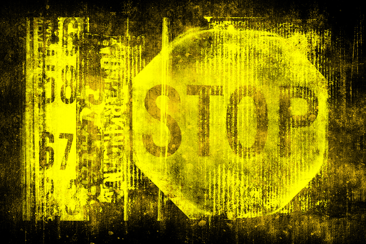 Stop sign on old grungy wall. Symbol of stop motion. Monochrome yellow black illustration
